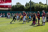 STANFORD, CA -- April 15, 2018. <br /> Team leading softball clinic after the Stanford Cardinal women's softball team loss to the Oregon State Beavers at the Smith Family Stadium 12-1.