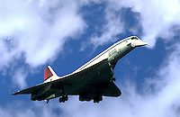 British Airways Concorde, SST, landing at Kennedy Airport, New York. Queens New York United States Kennedy Airport, Long Island.