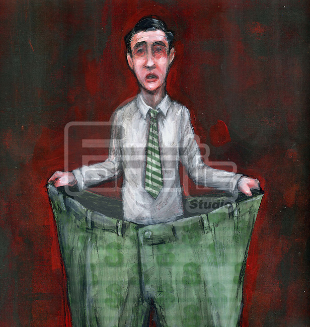 Businessman concept of cost cutting