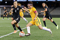 June 7, 2016: LISA DE VANNA (11) of Australia kicks<br /> the ball during an international friendly match between the Australian Matildas and the New Zealand Football Ferns as part of the teams' preparation for the Rio Olympic Games at Etihad Stadium, Melbourne. Photo Sydney Low