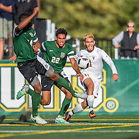 24 September 2016: Dartmouth College Big Green Defender/Midfielder Jonathan Nierenberg, a Junior from Sand Point, NY, battles University of Vermont Catamount Forward/Midfielder Stefan Lamanna, a Senior from Pickering, Ontario, at Virtue Field in Burlington, Vermont. The teams played to an overtime 1-1 tie in front of an Alumni Weekend crowd of 1,710 fans. Mandatory Credit: Ed Wolfstein Photo *** RAW (NEF) Image File Available ***