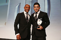 LONDON, ENGLAND - NOVEMBER 01:  Nehe Milner-Skudder (L) of New Zealand receives the Breakthrough Player of the Year award from George Gregan (L) during the World Rugby Awards 2015 at Battersea Evolution on November 1, 2015 in London, England.  (Photo: World Rugby)