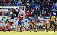 CARSON, CA - FEBRUARY 1: Giancarlo Gonzalez #3 of Costa Rica takes a shot during a game between Costa Rica and USMNT at Dignity Health Sports Park on February 1, 2020 in Carson, California.