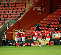 4th May 2021; The Valley, London, England; English Football League One Football, Charlton Athletic versus Lincoln City; Charlton celebrate their 2nd goal for 2-0 in the 65th minute from Inniss