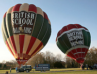 Making final adjustments prior to flight, British School of ballooning, Ebernoe, West Sussex.