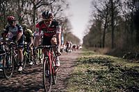 Jempy Drucker (LUX/BMC) at the infamous Arenberg Forest / Bois de Wallers<br /> <br /> 116th Paris-Roubaix (1.UWT)<br /> 1 Day Race. Compiègne - Roubaix (257km)