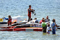 """Andrew Tate, A-25 """"Fat Chance"""" and Alexis Weber, A-7 """"Southern Magic"""" prepare to race. (2.5 MOD class hydroplane(s)"""