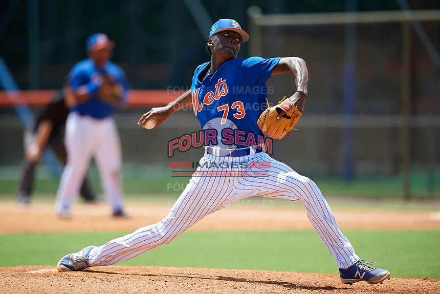 GCL Mets relief pitcher Brendan Hardy (73) delivers a pitch during a game against the GCL Marlins on August 3, 2018 at St. Lucie Sports Complex in Port St. Lucie, Florida.  GCL Mets defeated GCL Marlins 3-2.  (Mike Janes/Four Seam Images)