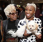 Irene Gandy with Cynthia Erivo and Caleb attends the Sardi's portrait unveiling for Condola Rashad at Sardi's Restaurant on May 10, 2018 in New York City.
