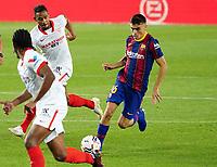 4th October 2020; Camp Nou, Barcelona, Catalonia, Spain; La Liga Football, Barcelona versus Sevilla; Pedri González of Barcelona, on as a substitute tales on the Sevilla defense