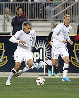 Brek Shea #23 of the USA MNT watches Jermaine Jones #15 moves the ball forward during an international friendly match against Colombia at PPL Park, on October 12 2010 in Chester, PA. The game ended in a 0-0 tie.