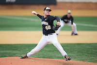Wake Forest Demon Deacons relief pitcher Paul Kirkpatrick (42) in action against the Towson Tigers at Wake Forest Baseball Park on March 1, 2015 in Winston-Salem, North Carolina.  The Demon Deacons defeated the Tigers 15-8.  (Brian Westerholt/Four Seam Images)