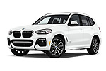 Stock pictures of low aggressive front three quarter view of a 2019 BMW X3 M Sport 5 Door SUV
