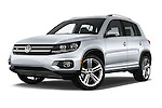 Stock pictures of low aggressive front three quarter view of 2016 Volkswagen Tiguan 2.0T-R-Line 5 Door SUV Low Aggressive