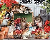 Interlitho,Simonetta, REALISTIC ANIMALS,kittens,playing, paintings+++++,KL4454,#a# ,puzzles