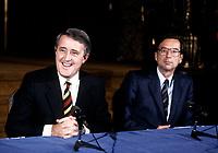 FILE PHOTO - Brian Mulroney and Robert Bourassa, adress the medias, December 13, 1985<br /> <br /> <br /> PHOTO :   Agence quebec Presse
