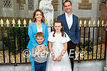 Gaelscoil Mhic Easminn student Rachel O'Mahoney at her First Holy Communion on Saturday in St Johns Church Tralee, l to r: Ruth Colleran, Ben, Rachel and Brian O'Mahoney