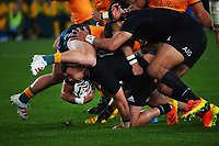 NZ's David Havili burrows under a tackle during the Bledisloe Cup rugby match between the New Zealand All Blacks and Australia Wallabies at Eden Park in Auckland, New Zealand on Saturday, 7 August 2021. Photo: Dave Lintott / lintottphoto.co.nz