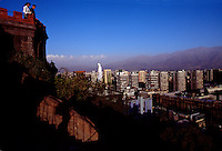 Overlook in Santiago de Chile, a 6 million people Metropolis surrounded by mountains and full of cultural activities and nightlife. Downtown Santiago has a mix of historical buildings and modern crystal towers.