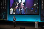 © Joel Goodman - 07973 332324. 06/12/2017 . Manchester , UK . DJ GREG JAMES introduces Prince William for his speech to the audience . The Duke And Duchess Of Cambridge, Prince William and Kate Middleton, attend the Children's Global Media Summit at the Manchester Central Convention Centre . Photo credit : Joel Goodman
