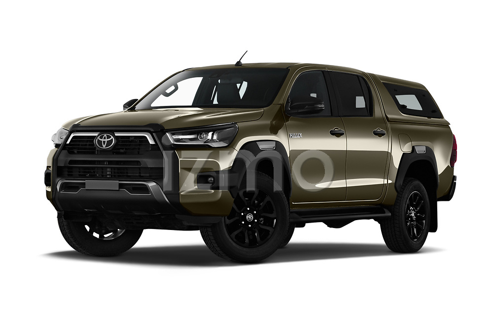 Stock pictures of low aggressive front three quarter view of 2021 Toyota Hilux Invincible 4 Door Pick-up Low Aggressive