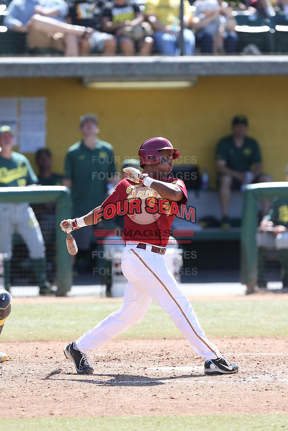 Dante Flores (3) of the Southern California Trojans bats during a game against the Oregon Ducks at Dedeaux Field on April 18, 2015 in Los Angeles, California. Oregon defeated Southern California, 15-4. (Larry Goren/Four Seam Images)