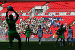 Tranmere Rovers 1 Forest Green Rovers 3, 14/05/2017. Wembley Stadium, Conference play off Final. Forest Green fans watch their team take a throw in during the Vanarama Conference play off Final  between Tranmere Rovers v Forest Green Rovers at the Wembley. Photo by Paul Thompson.
