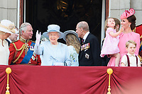 Queen, Princess Charlotte, Catherine Duchess of Cambridge and Prince George<br /> on the balcony of Buckingham Palace during Trooping the Colour on The Mall, London. <br /> <br /> <br /> ©Ash Knotek  D3283  17/06/2017