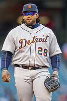 Detroit Tigers first baseman Prince Fielder (28) during the MLB baseball game against the Houston Astros on May 3, 2013 at Minute Maid Park in Houston, Texas. Detroit defeated Houston 4-3. (Andrew Woolley/Four Seam Images).