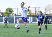 Sarah Wijnants (11) of Anderlecht pictured in front of Elle Decorte (7) of Club Brugge during a female soccer game between Club Brugge Dames YLA and RSC Anderlecht on the fourth matchday in Play-Off 1 of the 2020 - 2021 season of Belgian Scooore Womens Super League , saturday 1st May 2021  in Brugge , Belgium . PHOTO SPORTPIX.BE | SPP | DAVID CATRY