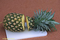 TT19-014b  Asexual Reproduction - cutting top of pineapple to experiment growing new plant by placing it in soil - see TT19-013d