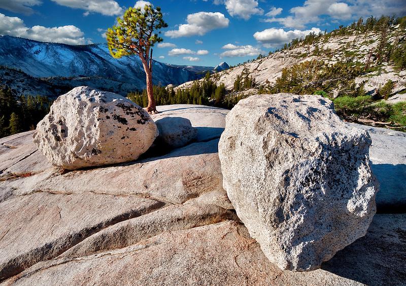 Granite rock and Half Dome. Yosemite National Park, California