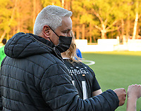 Head coach Dirk Decoen of Eendracht Aalst pictured before a female soccer game between  Racing Genk Ladies and Eendracht Aalst on the 5 th matchday of play off 2 in the 2020 - 2021 season of Belgian Scooore Womens Super League , friday 7 th of May 2021  in Genk , Belgium . PHOTO SPORTPIX.BE | SPP | JILL DELSAUX
