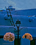 Ascent, Taos, New Mexico (Infrared) ©2016 James D Peterson.  New Mexico architecture is unlike that of anywhere else, and it my infrared camera loves it.  It found this rooftop still life just off the central plaza in Taos.