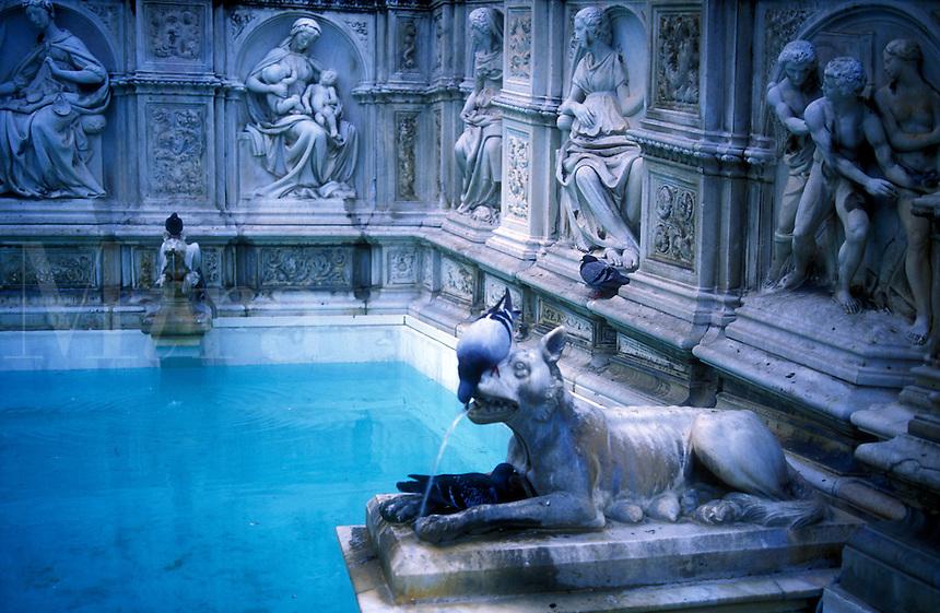 Italy.Tuscany, Siena, Piazza del Campo, Palazzo Pubblico, fountain