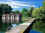 Germany, Bavaria, Upper Bavaria, Ammer Lake, Diessen: boathouse and landing pier