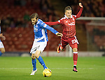 Aberdeen v St Johnstone…22.09.16.. Pittodrie..  Betfred Cup<br />Murray Davidson is fouled by James Maddison<br />Picture by Graeme Hart.<br />Copyright Perthshire Picture Agency<br />Tel: 01738 623350  Mobile: 07990 594431