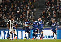 Calcio, Champions League: Gruppo H, Juventus vs Lione. Torino, Juventus Stadium, 2 novembre 2016. <br /> Lyon's Corentin Tolisso, second from left, celebrates with teammates after scoring the equalizer goal during the Champions League Group H football match between Juventus and Lyon at Turin's Juventus Stadium, 2 November 2016. The game ended 1-1.<br /> UPDATE IMAGES PRESS/Isabella Bonotto