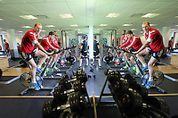 Pictured: Gerhard Tremmel on the static bike. Wednesday 02 July 2014<br /> Re: Pre-season testing during the first day of training for Swansea City FC players at the Landore training ground.