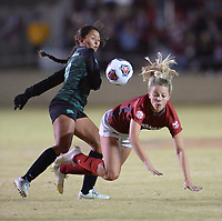 NWA Democrat-Gazette/ANDY SHUPE<br /> Arkansas' Abbi Neece (right) is upended Friday, Nov. 15, 2019, after colliding with North Texas' Michelle Gonzalez during the first half of play in the first round of the NCAA women's soccer tournament at Razorback Field in Fayetteville. Visit nwadg.com/photos to see more photographs from the match.