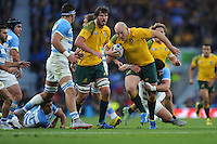 Stephen Moore of Australia drives forward in midfield during the Semi Final of the Rugby World Cup 2015 between Argentina and Australia - 25/10/2015 - Twickenham Stadium, London<br /> Mandatory Credit: Rob Munro/Stewart Communications