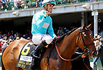 LOUISVILLE, KY - MAY 06: Florent Geroux, aboard Roca Rojo #6, after winning the Churchill Distaff Turf Mile Stakes on Kentucky Derby Day at Churchill Downs on May 6, 2017 in Louisville, Kentucky. (Photo by Mary Meek/Eclipse Sportswire/Getty Images)