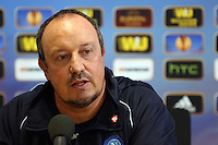 Pictured: Napoli manager Rafa Benitez. Wednesday 19 February 2014<br /> Re: Napoli manager Rafa Benitez gives a press conference ahead of tomorrow's UEFA Europa League game against Swansea at the Liberty Stadium, south Wales, UK