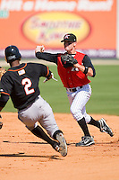 Second baseman Tyler Kuhn #1 of the Kannapolis Intimidators turns a double play versus the Delmarva Shorebirds at Fieldcrest Cannon Stadium June 2, 2009 in Kannapolis, North Carolina. (Photo by Brian Westerholt / Four Seam Images)