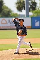 Charleston RiverDogs pitcher Jio Orozco (19) on the mound during a game against the Lakewood BlueClaws on May 3, 2017 at Joseph P. Riley Ballpark in Charleston, South Carolina. Lakewood defeated Charleston 10-6. (Robert Gurganus/Four Seam Images)