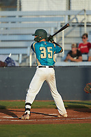 Jacob Whitley (35) (Charlotte) of the Mooresville Spinners at bat against the Concord A's at Moor Park on July 31, 2020 in Mooresville, NC. The Spinners defeated the Athletics 6-3 in a game called after 6 innings due to rain. (Brian Westerholt/Four Seam Images)