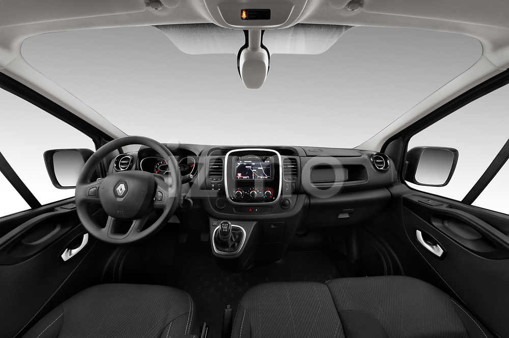 Stock photo of straight dashboard view of a 2020 Renault Trafic Grand-Confort 4 Door Cargo Van