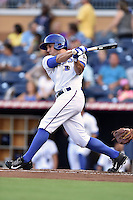 Durham Bulls center fielder Mikie Mahtook #7 swings at a pitch during a game against the Toledo Mud Hens at Durham Bulls Athletic Park on July 25, 2014 in Durham, North Carolina. The Mud Hens defeated the Bulls 5-3. (Tony Farlow/Four Seam Images)
