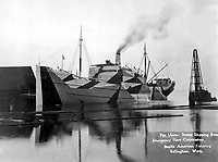 Wooden ship built for United States Shipping Board Emergency Fleet Corp., by Pacific American Fisheries, Bellingham, WA, 1918.  Grosart Studio.   (War Dept.)<br /> Exact Date Shot Unknown<br /> NARA FILE #:  165-EO-2C-1<br /> WAR & CONFLICT BOOK #:  542