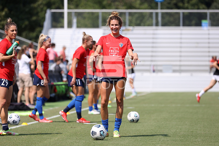 CARY, NC - SEPTEMBER 12: Ryan Williams #13 of the North Carolina Courage warms up before a game between Portland Thorns FC and North Carolina Courage at Sahlen's Stadium at WakeMed Soccer Park on September 12, 2021 in Cary, North Carolina.